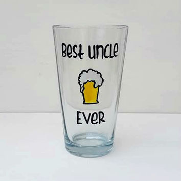 Best Uncle Ever hand-painted pint glass