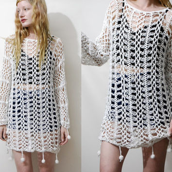 90s Vintage CROCHET Dress Pom Pom Mini White Cotton Sheer Oversized Slouchy Long sleeve Sweater Bohemian boho Hippie 1990s vtg s m l