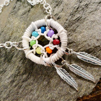 Rainbow Dream Catcher Anklet / Bracelet with Silver Feathers ROYGBIV