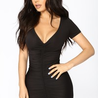 Lhasa Ruched Dress - Black