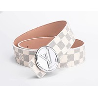 LV tide brand men and women classic chess board old flower smooth buckle belt white check