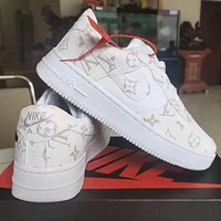 LV Louis Vuitton NIKE Air force 1 stitching color letter print low-top men's and women's sneakers Shoes White