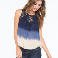 PATRONS OF PEACE Lace Ombre Womens Top | Blouses