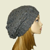 Slouchy Hat Beanie Crochet Charcoal Grey Beany Slouch Women Teen Dark Gray Crochet Hat
