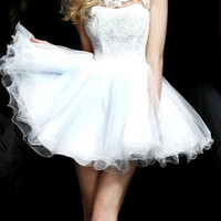 White Sequin Crystal Sheer Crochet Open Back Tulle Homecoming Dress