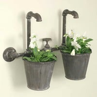 Vintage Industrial Double Wall Planter