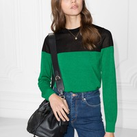 & Other Stories | Color Block Sweater | Green/Black