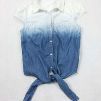 Gradient bowknot soft denim shirt dress with short sleeves