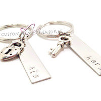 His And Hers keychains with lock key charms Couples Keychains, His Hers Gift , Anniversary Gift