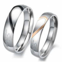 Heart Shape Puzzle Couples Ring