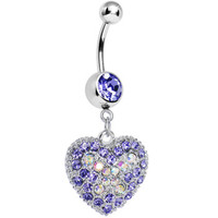 Love's Ascent Tanzanite Purple Butterfly Heart Dangle Belly Ring | Body Candy Body Jewelry