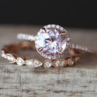 Morganite Engagement Ring Set 7mm Round Cut Morganite Ring Full Eternity Diamond Wedding Ring Set Gemstone Ring Set 14K Rose Gold Ring Set