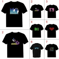 Men Sound Activated LED T-shirt Light Up Down Flashing T-shirts for Rock Disco Party DJ Tops Tee T Shirt Men Camisetas Hombre