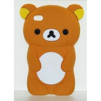 3 Item Combo (Case + Bag + Film) Brown Teddy Bear Soft Silicone Case for Apple Ipod Touch 4 / 4th / 4G / itouch Gen Generation 8GB 16GB 32GB Mp3 Case
