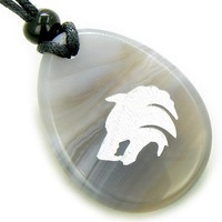 Protection Wolf Head Amulet Natural Agate Word Stone Necklace