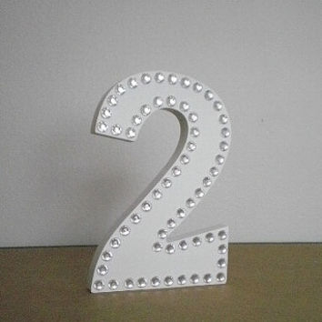 BLING TABLE NUMBERS - Sparkling White & Bling Stand Up Numbers for Wedding, Anniversary, Birthday, Events - 6""