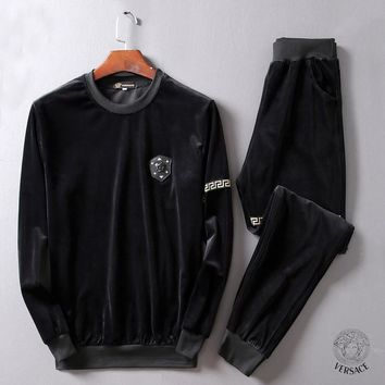 Boys & Men Versace Fashion Top Sweater Pullover Pants Trousers Set Two-Piece