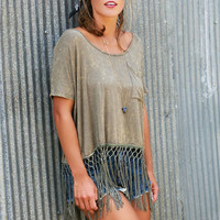 Natural Born Rebel Olive Acid Wash Oversized Pocket Tee With Fringe & Drawstring Back