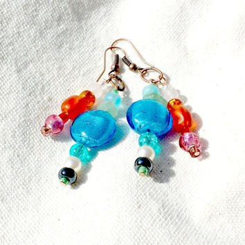 Rainbow Dangle Earrings, Gemstone and Lampwork Bead Earrings, Watercolor Earrings, Bright Blue Earrings, free shipping