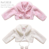 Hot Sales Kids Top 2T-10T Child Jacket Faux-Fur White Outwear kids Solid Flower Girl Jackets Full Sleeves Turn-Down Collar 3818