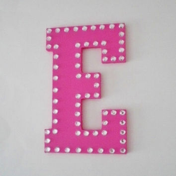 BLING WALL LETTERS-  Decorative Handpainted Letters, Initials or Words w/ Clear Rhinestones - 8""