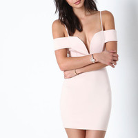 BLUSH OFF SHOULDER PLUNGE DRESS