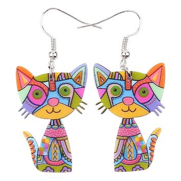 Acrylic Drop Cat Earrings Pets Funny Design 7 Color Lovely Gift For Girl Women By The Bonsny (Multicolor)