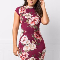 Azalea Floral Dress Burgundy