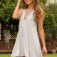 Harlee Lace Up Dress - Gray