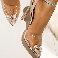 Fashion Rhinestone Transparent Shoes Stilettos High Heels Sandals Women Pointed Toe Party Silver Party Wedding Shoes