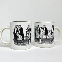 PAIR Edward Gorey Metropolitan Opera Mugs Black and White Gold Rim New York City Coffee Cup Tea Cup NYC Design Art 90s Illustrated