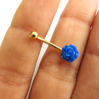 One Tiny 16 Gauge Royal Blue Rose Silver Gold Bar Eyebrow Rook Brow Jewelry Piercing Earring Ear Barbell 16g G