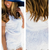 Sundance White Lace Sleeveless Romper
