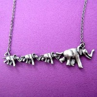 Elephant Parade Pendant Necklace in Silver | Animal Jewelry