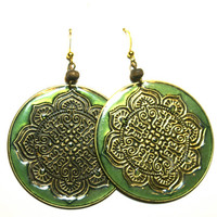 BLACK FRIDAY SALE Round Metal Disk Earrings Green Enamel with Exotic Brass Tone Design