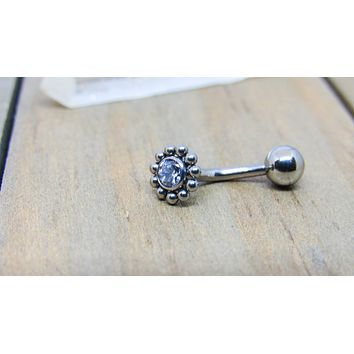 14g-12g Titanium VCH piercing barbell floating navel belly button ring curved barbell internally threaded 6mm beaded cluster 4mm clear gemstone