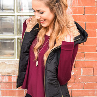 Fur Trim Hooded Vest