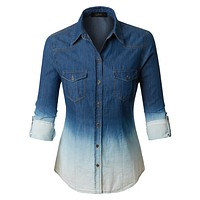 Distressed Washed Long Sleeve Button Down Denim Shirt Top (CLEARANCE)