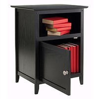 Black Shaker Style End Table Nightstand with Shelf