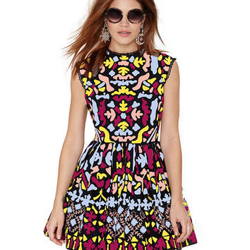Printed Sleeveless Backless Mini Skater Dress