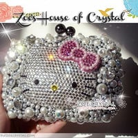 BLING and Stylish Pearl Clutch Bag with Adorable Crystal  KITTY (small party bag)