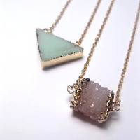 Amazonite Triangle Necklace Trimmed In 24k Gold Plating - Custom length