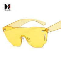 SHAUNA Newest Candy Color Integrated Lens Women Cateye Sunglasses Nail Decoration Men Rimless Pink Tint Lens Glasses