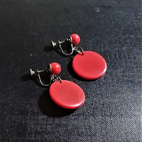 Classic Cherry Candy Apple Red Dangle Disc Drop 1950's Vintage Statement Amazing and FUN Earrings All Occasion Screw Back Earrings