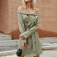 Party Blazer Dress Women Bow Button Straight Sexy Dresses Stripe Off Shoulder Dress Vestidos