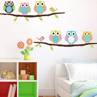 Owls on Branches Themed Wall Stickers
