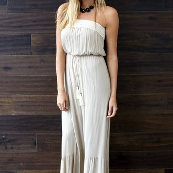 Taupe Tie Front Strapless Linen Maxi Dress