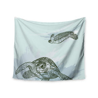 """Sam Posnick """"Sea Turtles"""" Green Blue Wall Tapestry"""