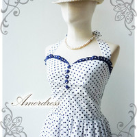 NEW COLOR...Once Upon A Time Vintage 50's Inspired Sweet Party Halter Neck Dress Navy Dot White Dress -Size S-