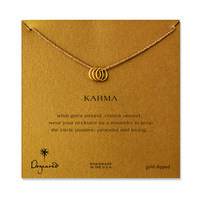 triple karma ring sparkle necklace, gold dipped, 18 inch